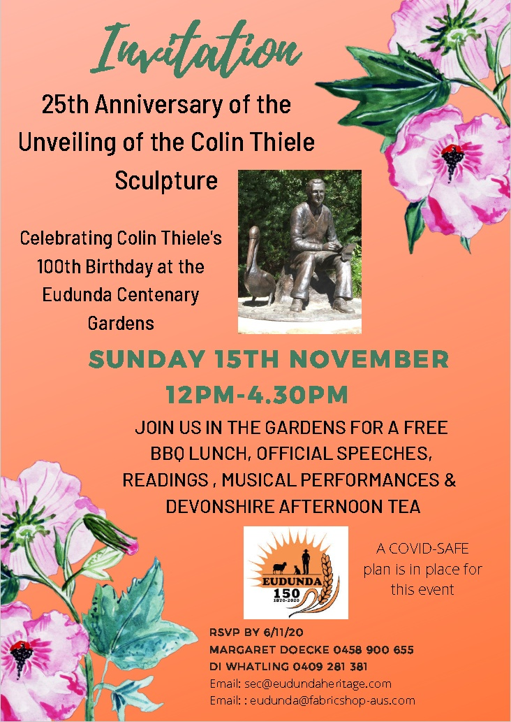 15th Nov - 25th Anniversary Sculpture Unveiling & Colin Thiele's 100th Birthday