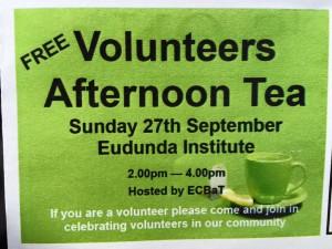 Free Volunteers Afternoon Tea - Sun 27th Sept 2015