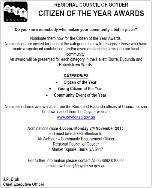 Citizen of the Year Awards advert