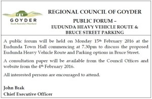 RCOG advert for Public Forum on Heavy Vehicle Transport and Parking in Bruce St