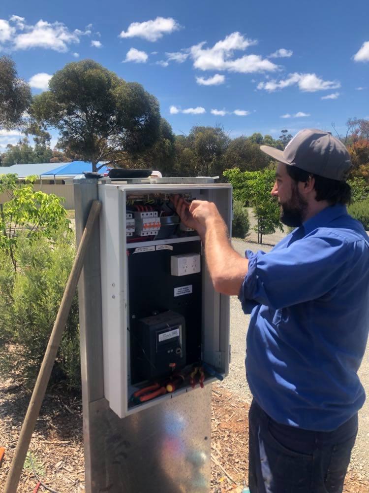 4 Extra Powered Sites - Jarred Schutz installing electrical at the Eudunda Caravan Park