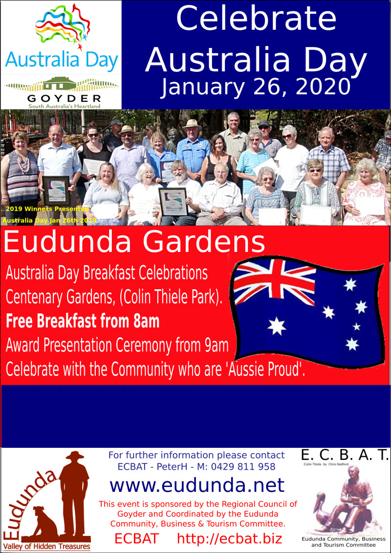 Australia Day Breakfast - FREE at Eudunda 26th Jan 2020