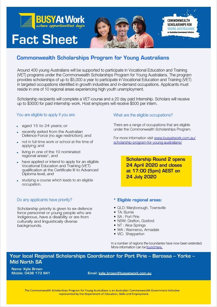 BUSY At Work - Commonwealth Scholarship Program for Young Australians