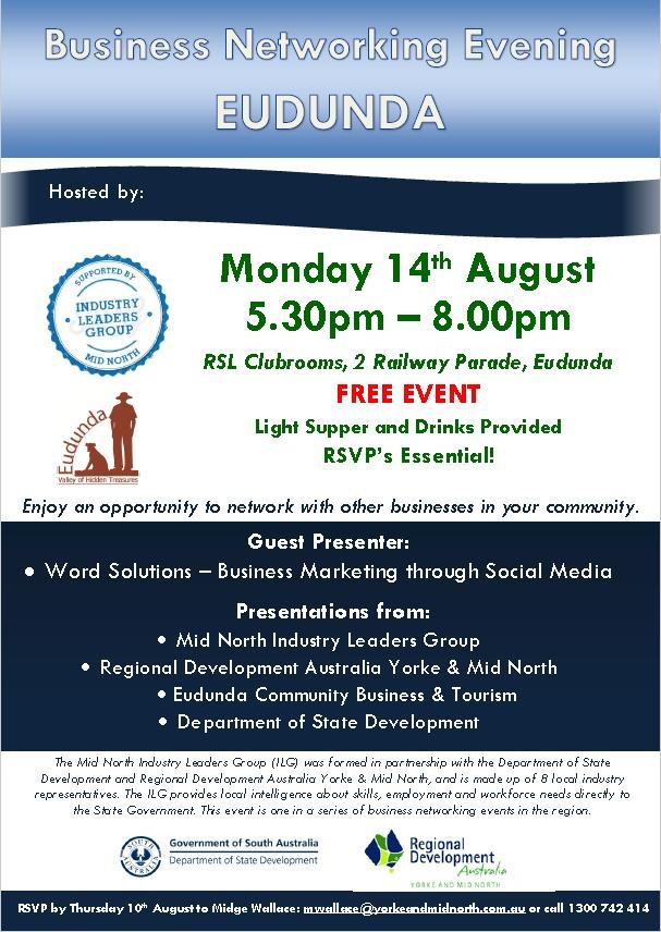 Business Networking Evening - Eudunda 14th Aug 2017 - Flier