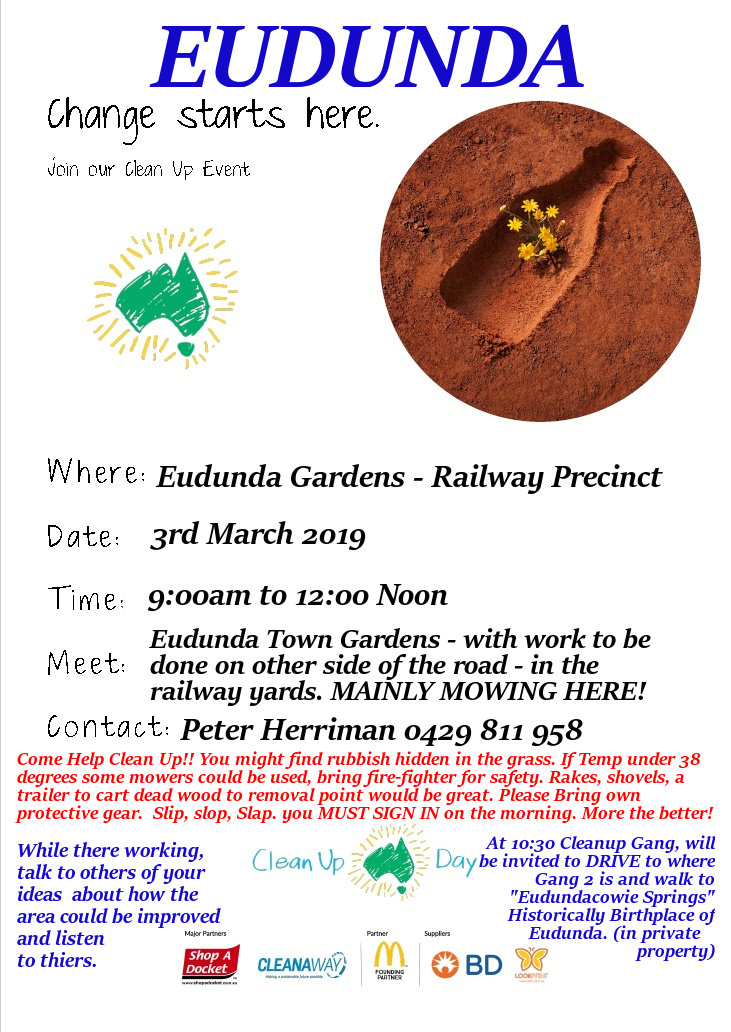 Clean Up Australia Day - 3rd Mar 2019 - Gardens-Railway poster