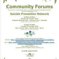 Community Forums – Conversation About Community Focused Suicide Prevention & Network
