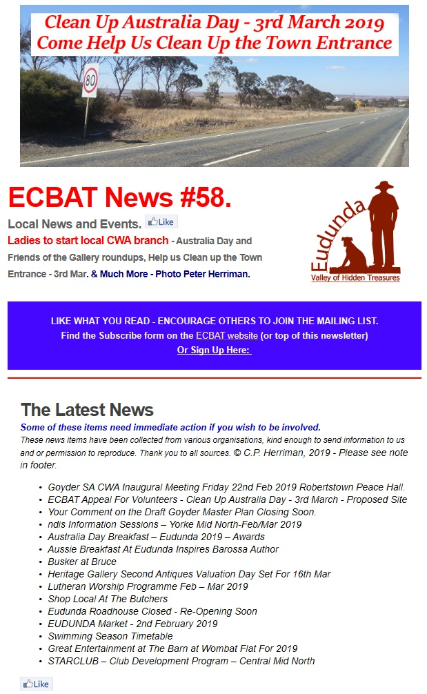 Southern Goyder News From ECBAT No 58 200219 cover