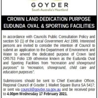 Crown Land Dedication Purpose – Eudunda Oval & Sporting Facilities – RCOG