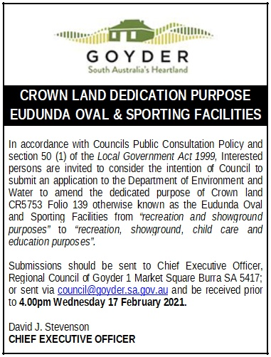 Crown Land Dedicated Purpose - Eudunda Oval & Sporting Facilities