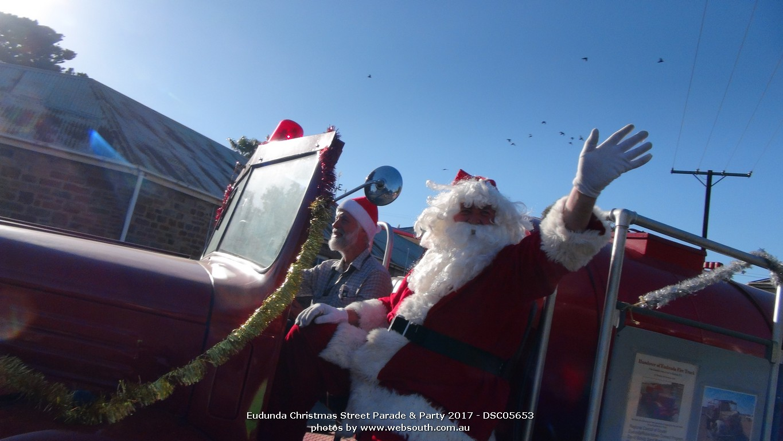 Father Christmas on his way to the Eudunda Gardens Christmas Party for 2017