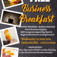 Eudunda Business Breakfast By ECBAT Wed. June 23rd 7am to 9am