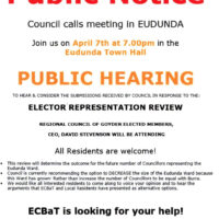 Important Community Meeting -Wed 7th April to Discuss Elector Representation Review.