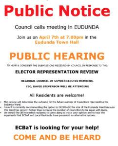 ECBAT - Please come to Public Meeting Council Representation Review - 7th Apr 2021