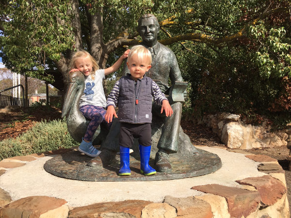 Emma and Jack Love to Visit the Colin Thiele & Mr Percival Sculpture at the Eudunda Gardens