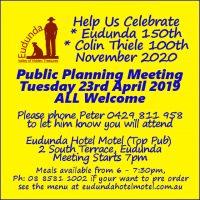 Public Planning Meeting 23rd April 2019 for Eudunda 150th Plans