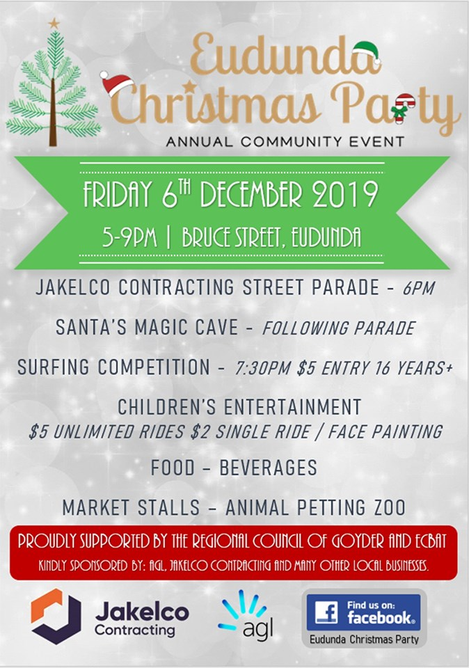 Eudunda Christmas Party 6th Dec 2019 Flier