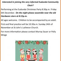Eudunda Community Choir To Feature At Christmas Party 6th Dec