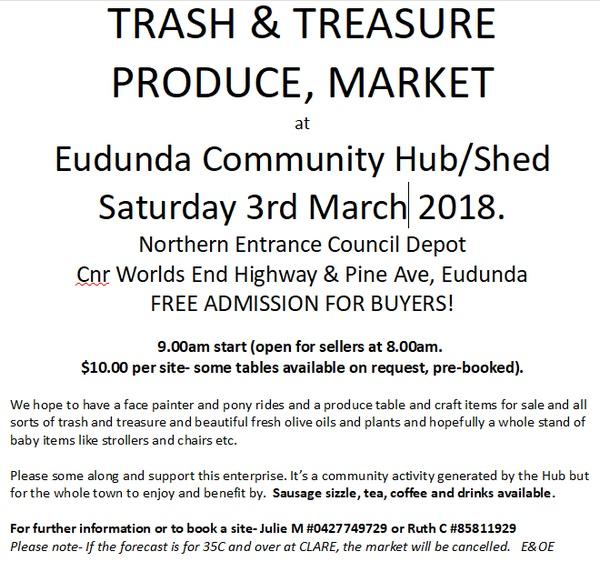 Eudunda Community Hub - Trash & Treasure - 3rd Mar 2018