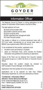 Goyder - Information Officer Sept 2019 - advert