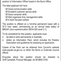 Goyder Require Full Time Information Officer
