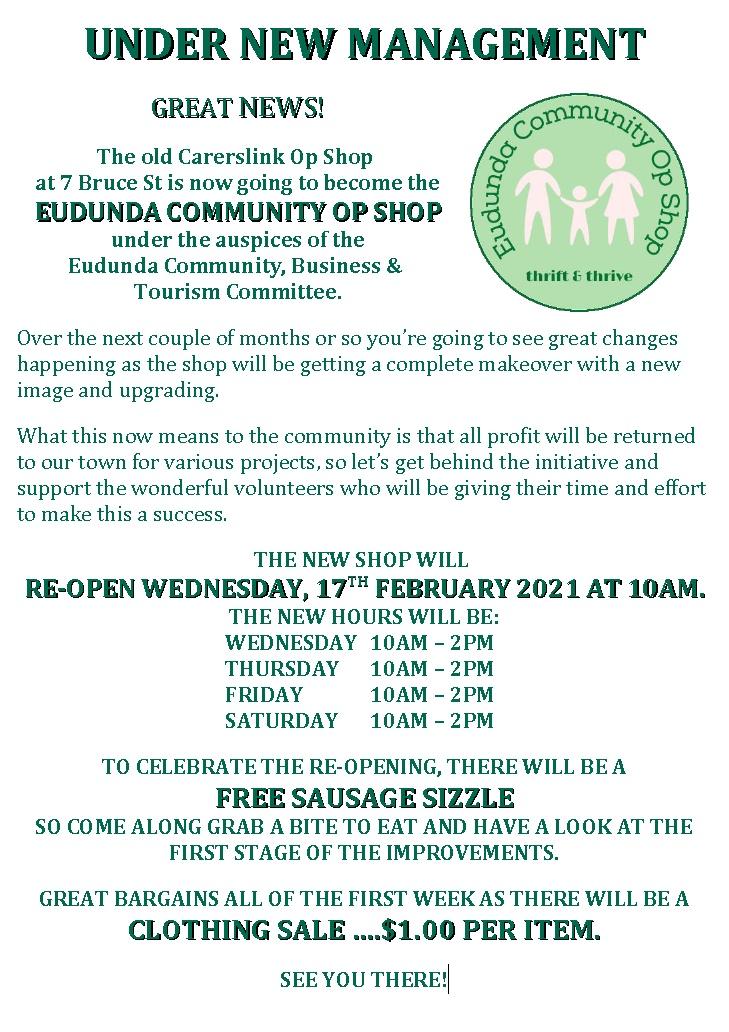 Great News 2 - Grand Opening and BBQ - Eudunda Community Op Shop - 17th Feb 2021
