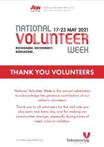 National Volunteer Week 17-23 May 2021 - NVW2021 Poster