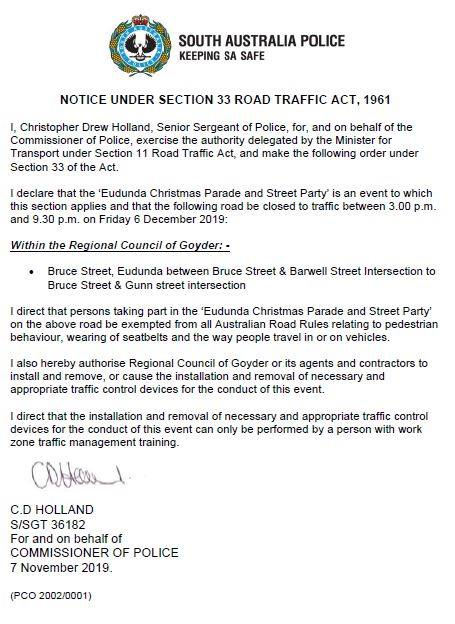 Notice Under Section 33 Road Traffic Act 1961