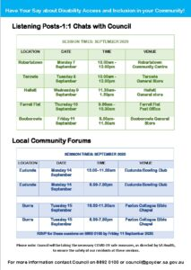 Regional Council of Goyder - Disability Access and Inclusion Plan (DAIP) Sept 2020 Session Times