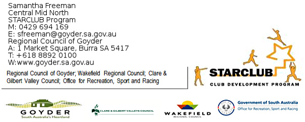 The STARCLUB Program is a shared council resource across the Central Mid-North region of Clare, Wakefield & Goyder.