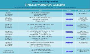 Starclub Workshops Calendar - 2019 - June - September