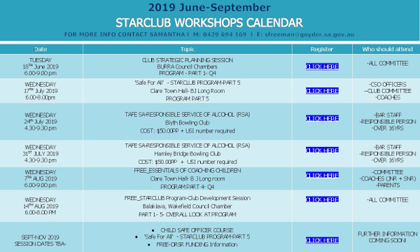 Starclub Workshops Calendar - 2019 - June - September