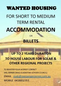 Wanted - Housing, Accommodation, Billets for Upcoming Solar & Regional Projects - Flier