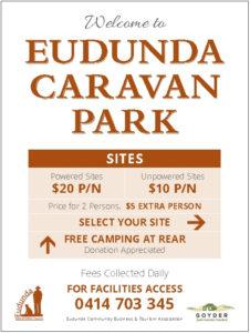 Welcome sign - Eudunda Caravan Park