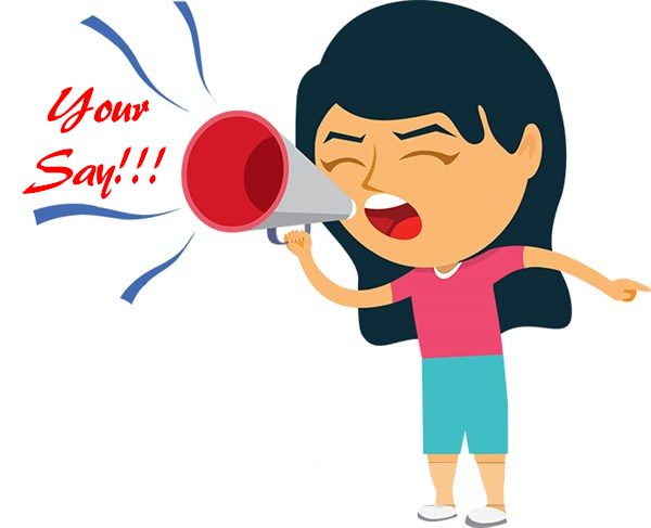 YOUR SAY - lady shouting in megaphone to vote - classroomclipart.com